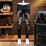 Printing Jeans Leisure Time Elastic Force Punk Nightclub