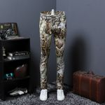 Thin Section Snake Grain Printing Jeans