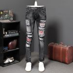 Embroidery Hole Splice Pants Skinny Jeans
