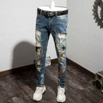 Hole Jeans Personality Printing Male Pants