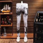 White Printing Leisure Time Jeans Directly Canister