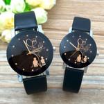 Quartz Dial Clock PU Leather Wrist Watch