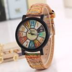 New flower surface wood grain leather watch