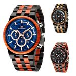 wooden large dial sandalwood set quartz watch