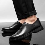 oxfords dress shoes genuine leather black pointed toe