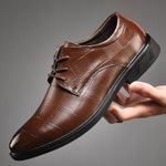 splite leather lace-up black brown formal shoes