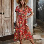 Vintage Floral Wrap Long Dress Lace Up Split Holiday