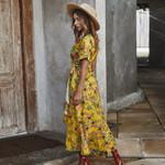 Yellow Floral Wrap Vintage Boho Long Dress