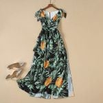 New High-end Holiday Leisure Print Strap Dress