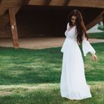 Sexy Long Flare Sleeve V Neck White Party Hollow Lace Maxi Dress