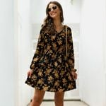 Boho Flower Printing Loose V-Neck Casual Holiday Dress