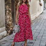 Vintage Polka Dot Long Holiday Boho Chic Sleeveless Dresses