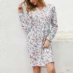 Boho Floral Print Long Sleeve Dress