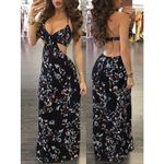 Sexy Sleeveless Backless Floral Print V Neck Long Maxi Dress