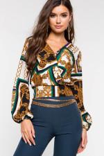 boho top Casual Print bohemian Long Sleeve Tshirt