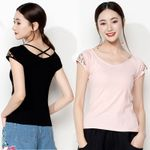 ethnic boho pink white black red embroidery cotton t shirt