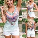 Boho Beach Tops Printed Floral Tassels V-neck T-Shirt