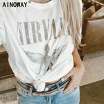 vintage boho chic angel print short sleeve t-shirt