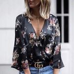 Sexy Boho Beach Top Long Sleeve Floral Blouse
