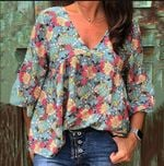 Floral Print Blouses Pleated Loose Shirts