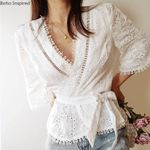Boho Inspired white cotton blouse shirt