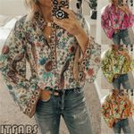 Long Sleeve Print Casual Loose Fit Shirts