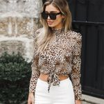 Leopard Printed Long Sleeve Blouse Floral Shirt