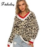 Leopard V Neck Sweater Pullovers Knitwear Boho
