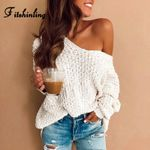 Casual Boho V Neck Sweater Ladies Slim Long Sleeve