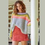 oversize Rainbow stripes sweater pullovers long sleeve