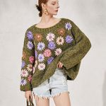 oversize boho pullover hand-made floral embroidery sweater