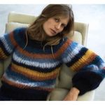 boho winter pullover o neck Rainbow stripes mohair sweater