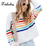 Rainbow Striped Sweaters Pullovers Knitwear