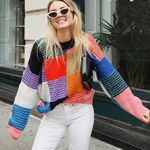 long sleeve pullover Colorful square Mohair boho sweaters
