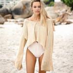 Cuff split flare long sleeve beach wear boho sweaters