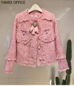 Solid pink outwear tassel female thick warm coat