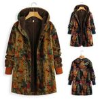 Fashion Boho print Hooded Coat warmer Full Sleeve