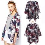 Vintage Floral Loose Kimono Boho Chiffon Cardigan