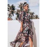 Fashion Haif Sleeve Lace Up Floral Printed Kimono