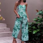 Spaghetti Strap Boho Tropical Palm Leaf Print Bodysuit