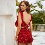 casual jumpsuit romper  dot print red ruffle beach