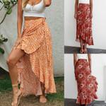 Retro Boho Floral Print Tied Waist Sarong Maxi Wrap Skirts