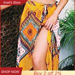 High-Waisted Boho Asymmetrical Hem Tie up Print Wrap Skirt