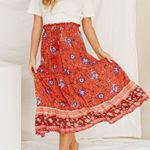 Casual beach boho maxi skirt Red Floral Chiffon