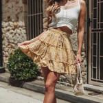 Casual beach boho mini skirt Floral Printed