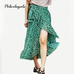 boho maxi Green Floral Chiffon Printed Lotus Skirt