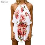 Fashion Sexy Halter Sleeveless 2 Pieces Tops & Shorts