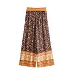 vintage floral print wide leg pants