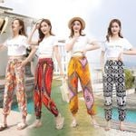 Boho Flower Long Pants Loose Straight Pantyhose