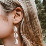 Boho Long Shell Moon Star Drop Earrings